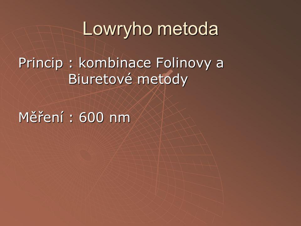 Lowryho metoda Princip : kombinace Folinovy a Biuretové metody Měření : 600 nm