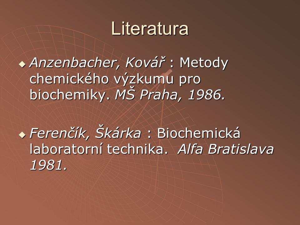 Literatura Anzenbacher, Kovář : Metody chemického výzkumu pro biochemiky. MŠ Praha, 1986.