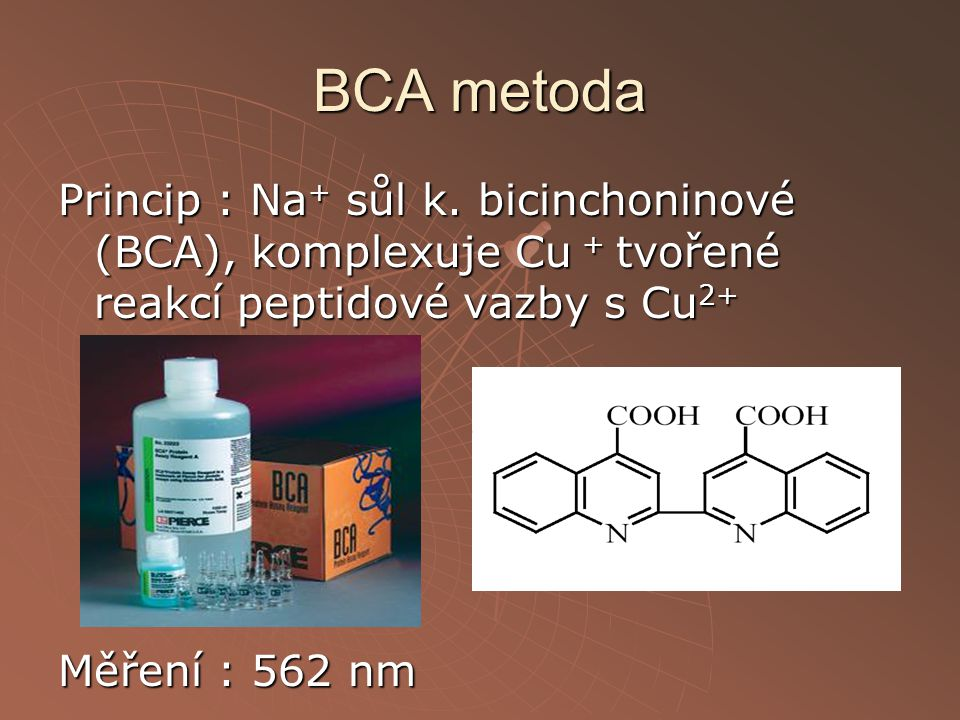 BCA metoda Princip : Na+ sůl k.