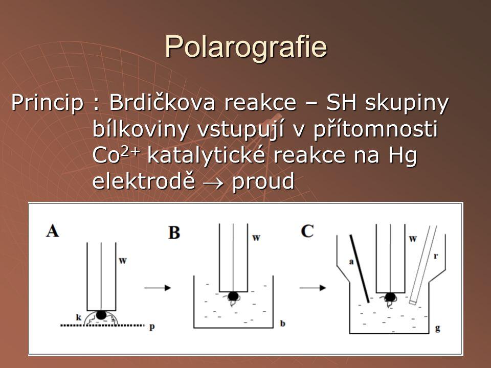 Polarografie Princip : Brdičkova reakce – SH skupiny bílkoviny vstupují v přítomnosti Co2+ katalytické reakce na Hg elektrodě  proud.