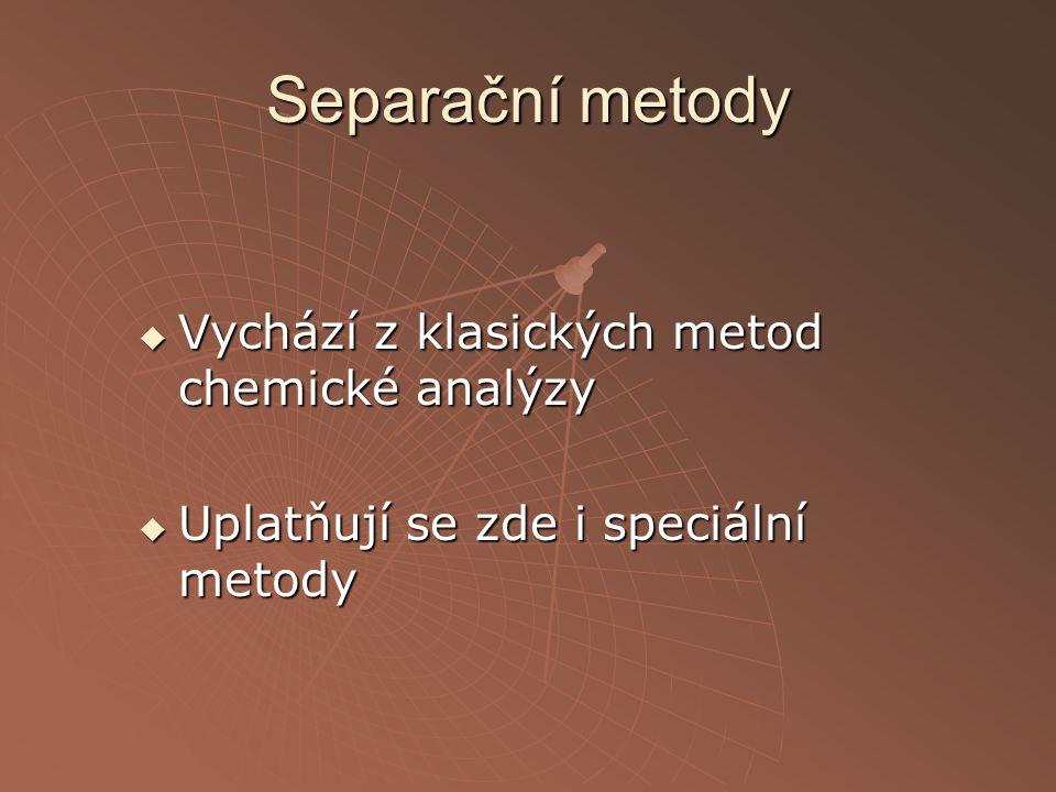 Separační metody Vychází z klasických metod chemické analýzy