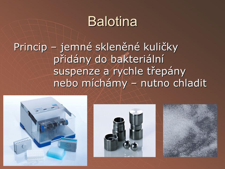 Balotina Princip – jemné skleněné kuličky přidány do bakteriální suspenze a rychle třepány nebo míchámy – nutno chladit.