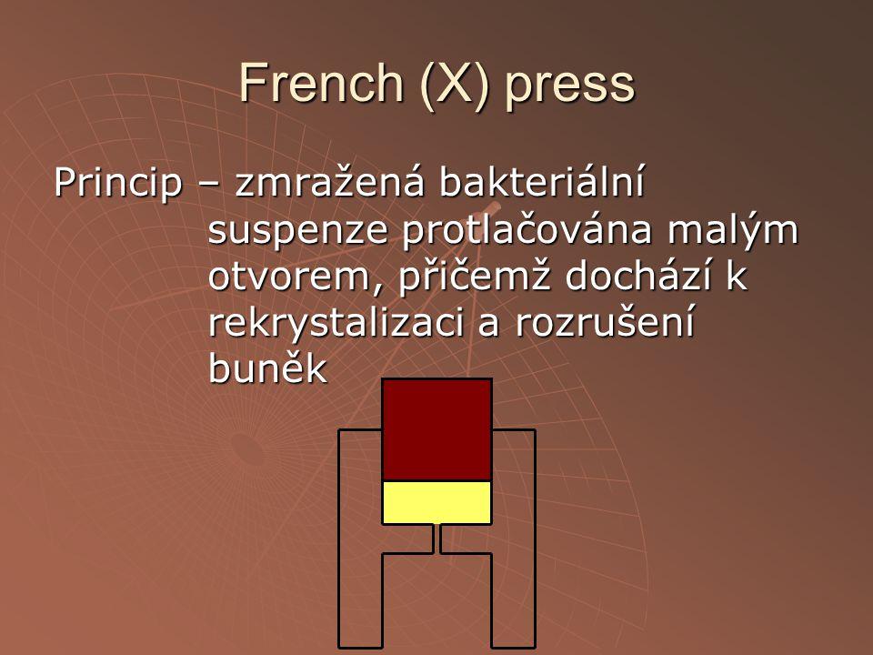French (X) press Princip – zmražená bakteriální suspenze protlačována malým otvorem, přičemž dochází k rekrystalizaci a rozrušení buněk.