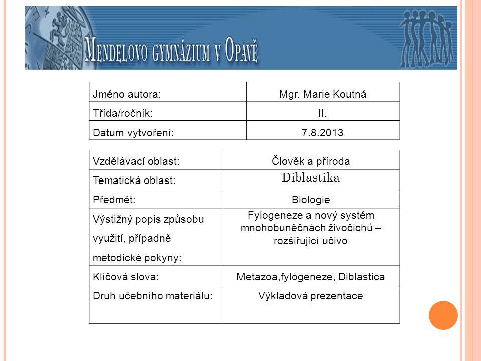 Diblastika Jméno autora: Mgr. Marie Koutná Třída/ročník: II.