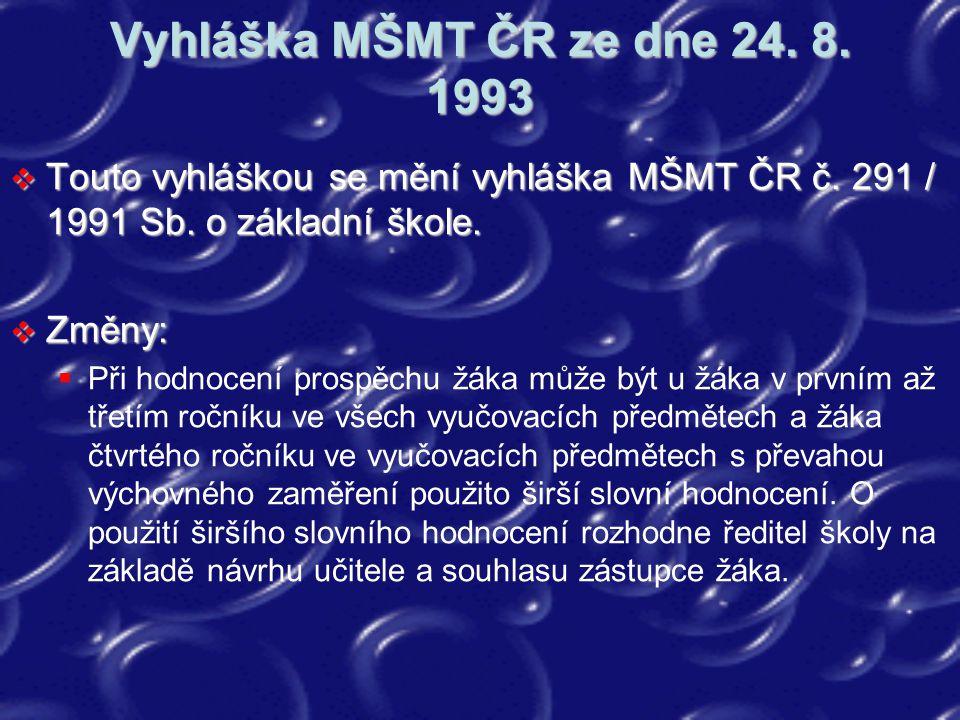 Vyhláška MŠMT ČR ze dne 24. 8. 1993 Touto vyhláškou se mění vyhláška MŠMT ČR č. 291 / 1991 Sb. o základní škole.