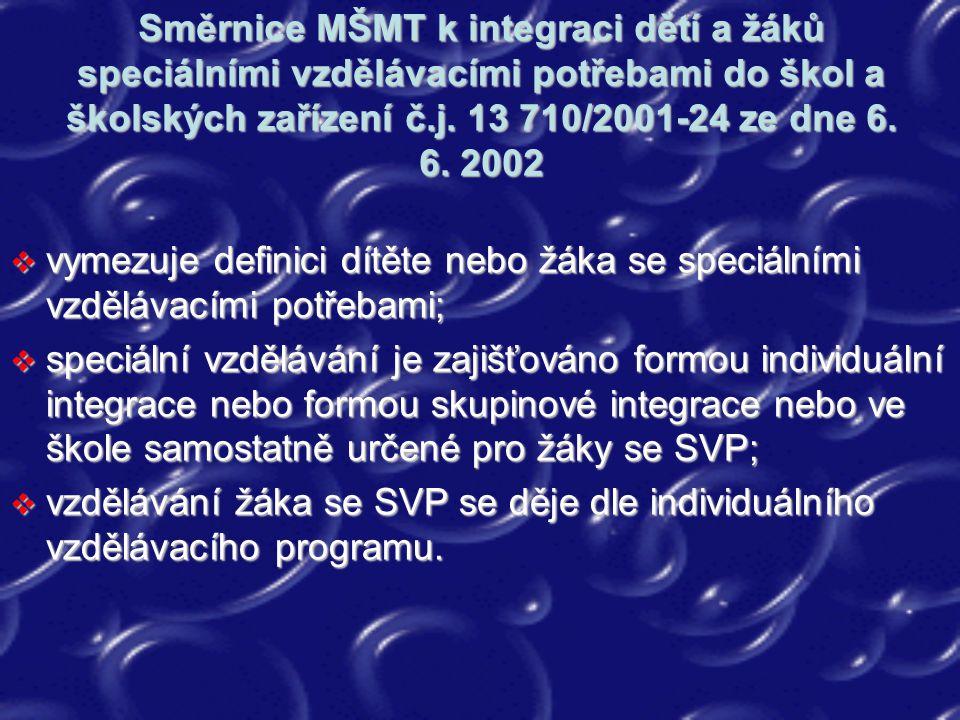 Směrnice MŠMT k integraci dětí a žáků speciálními vzdělávacími potřebami do škol a školských zařízení č.j. 13 710/2001-24 ze dne 6. 6. 2002