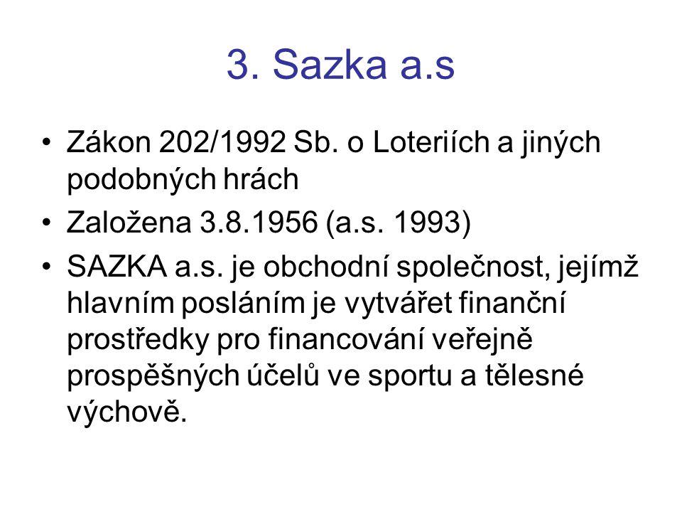3. Sazka a.s Zákon 202/1992 Sb. o Loteriích a jiných podobných hrách