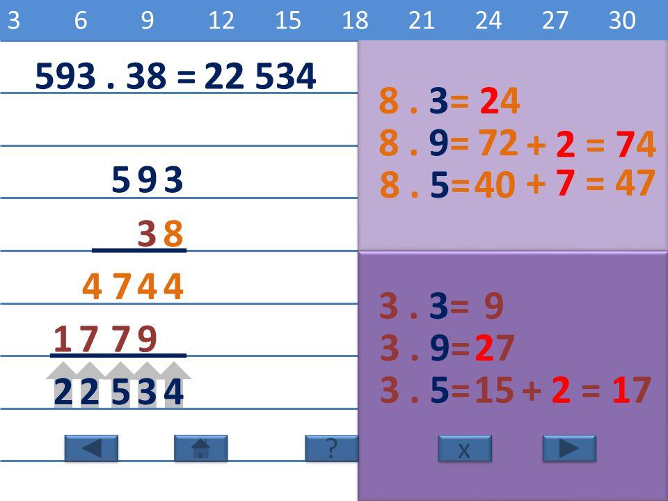 3 6 9 12 15 18 21 24 27 30 8 16 24 32 40 48 56 64 72 80. 593 . 38 = 22 534. 8 . 3= 24. 8 . 9= 72.