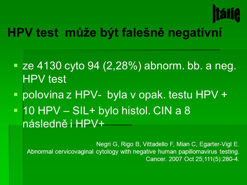 HPV test může být falešně negativní