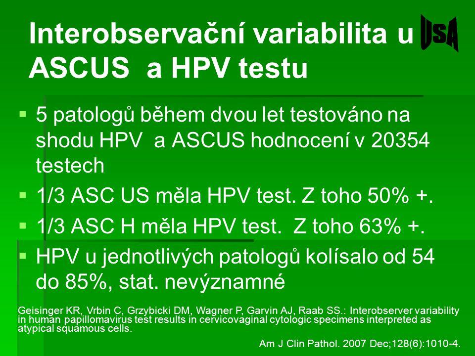 Interobservační variabilita u ASCUS a HPV testu