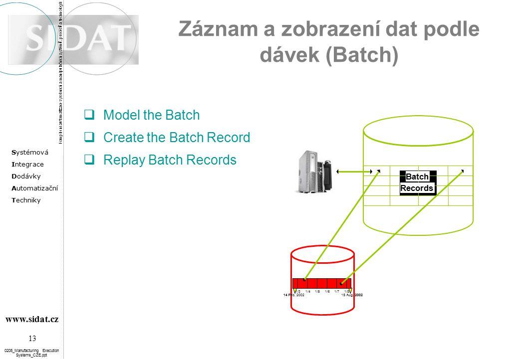 Záznam a zobrazení dat podle dávek (Batch)