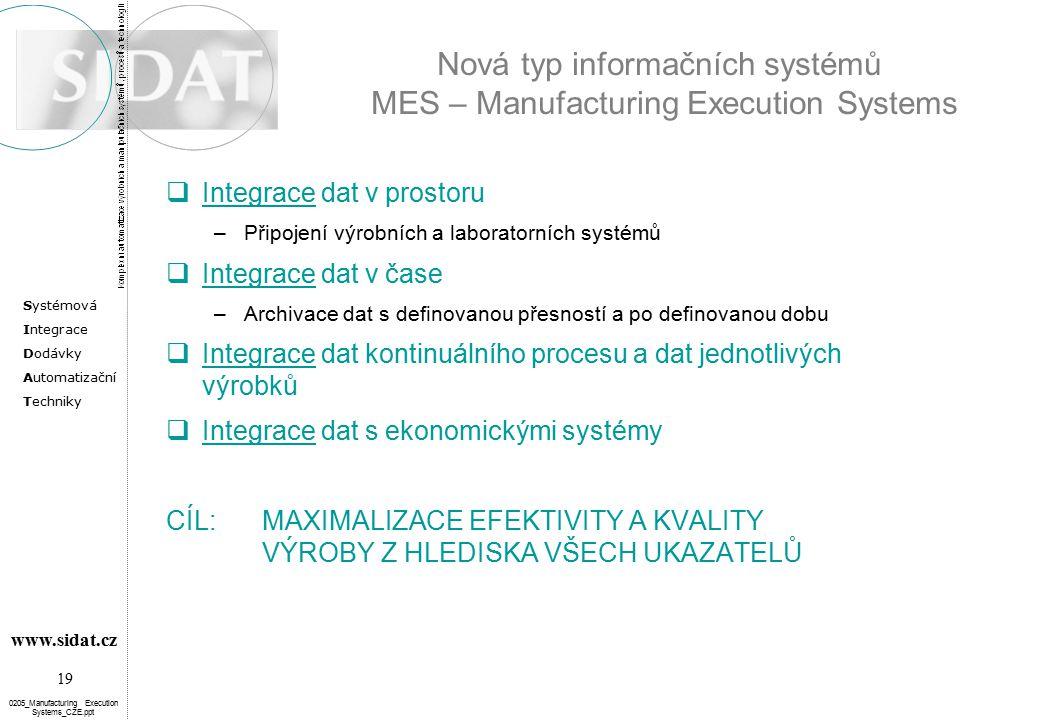 Nová typ informačních systémů MES – Manufacturing Execution Systems