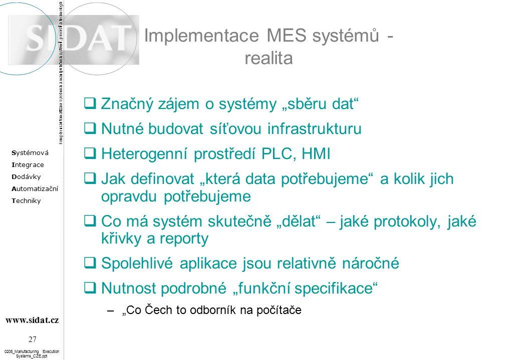 Implementace MES systémů - realita