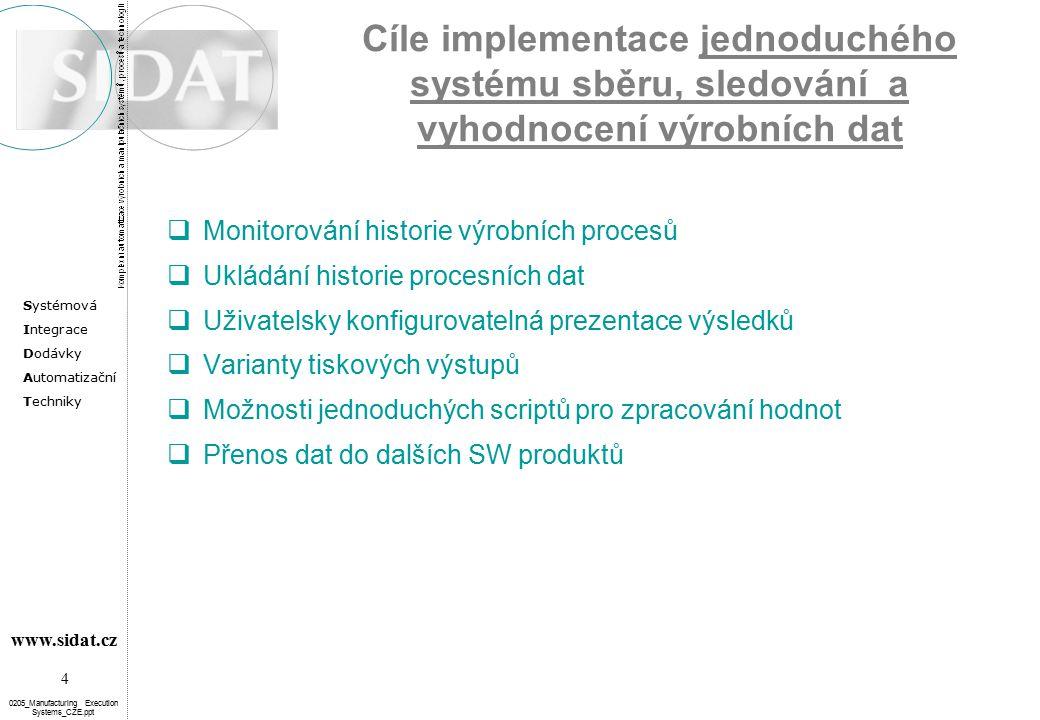 Cíle implementace jednoduchého systému sběru, sledování a vyhodnocení výrobních dat