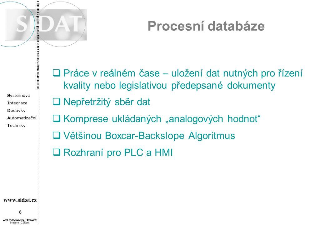 Procesní databáze Práce v reálném čase – uložení dat nutných pro řízení kvality nebo legislativou předepsané dokumenty.
