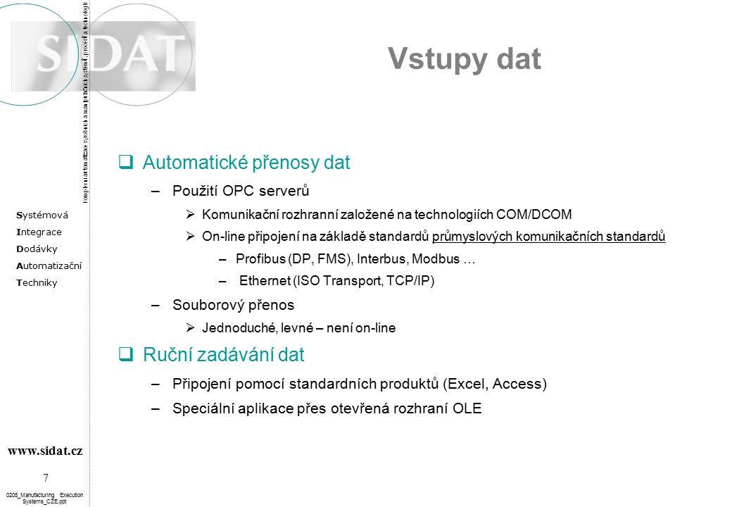 Vstupy dat Automatické přenosy dat Ruční zadávání dat