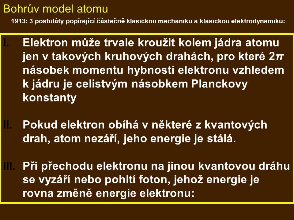 Bohrův model atomu 1913: 3 postuláty popírající částečně klasickou mechaniku a klasickou elektrodynamiku:
