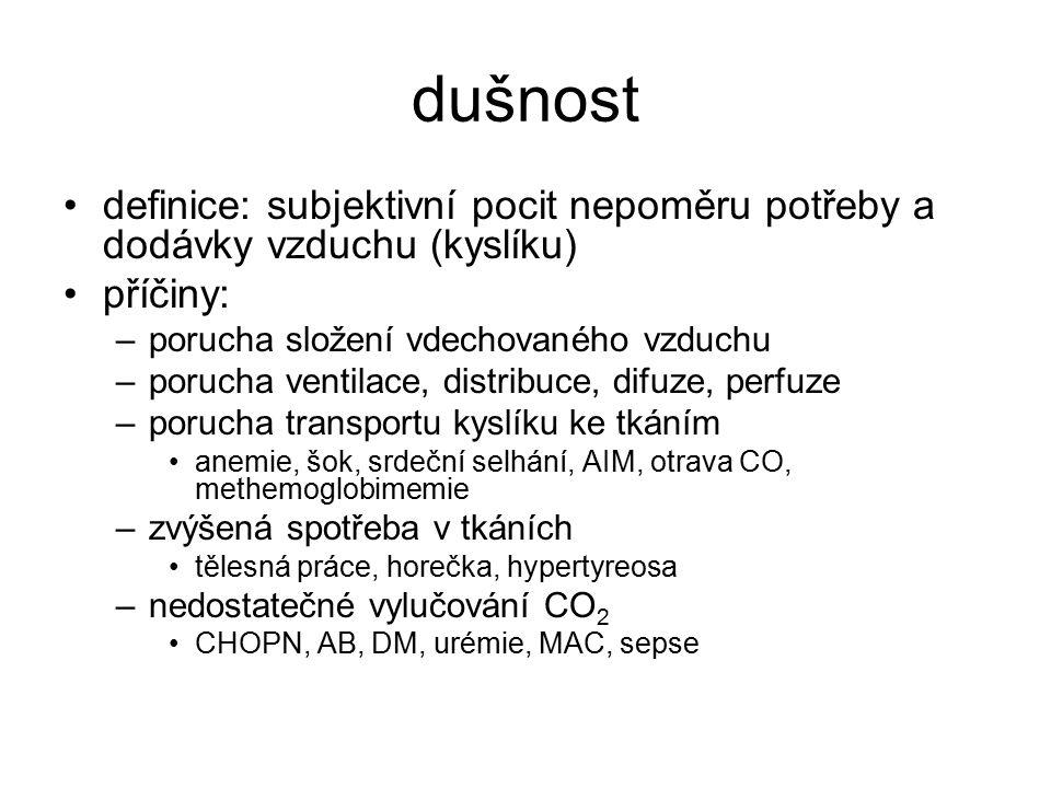dušnost definice: subjektivní pocit nepoměru potřeby a dodávky vzduchu (kyslíku) příčiny: porucha složení vdechovaného vzduchu.