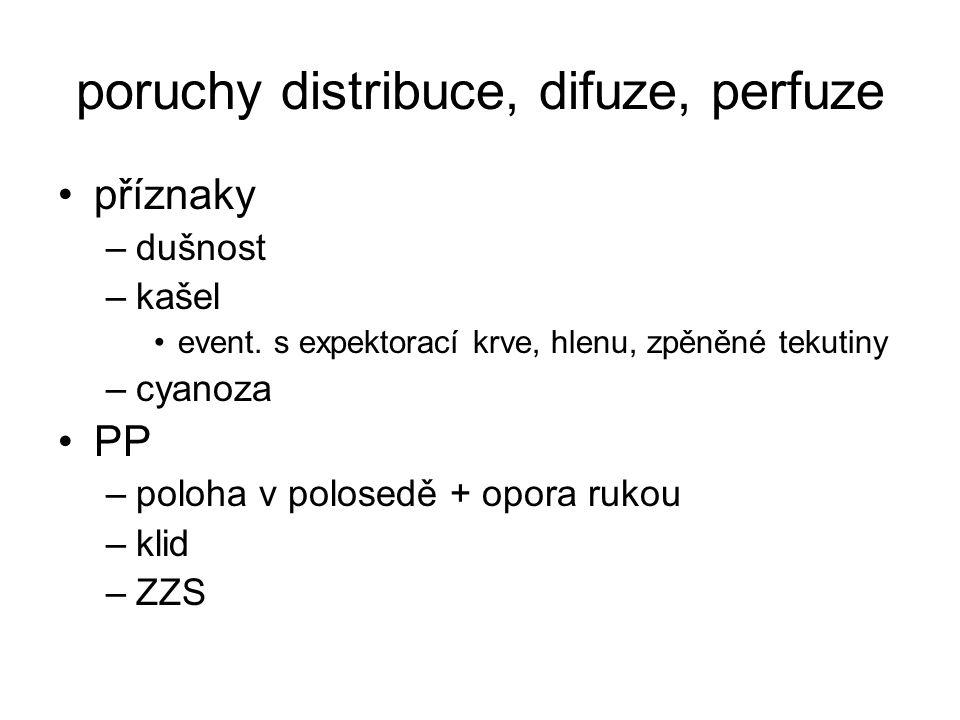 poruchy distribuce, difuze, perfuze