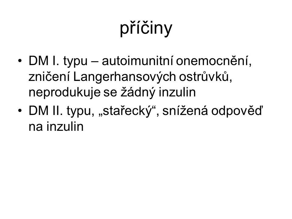 příčiny DM I. typu – autoimunitní onemocnění, zničení Langerhansových ostrůvků, neprodukuje se žádný inzulin.