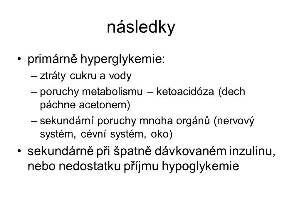 následky primárně hyperglykemie: