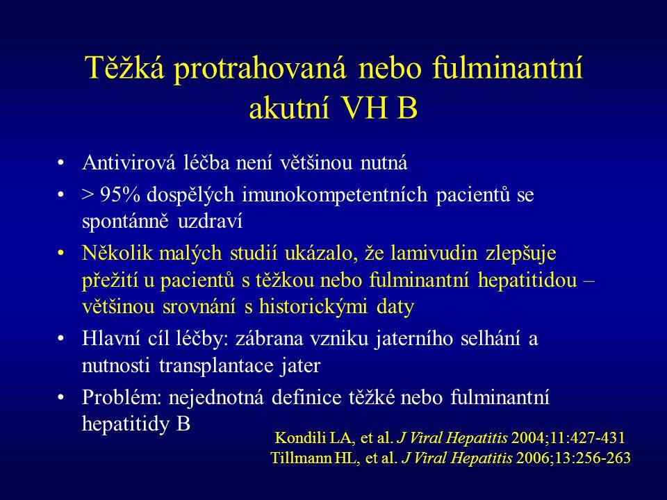 Těžká protrahovaná nebo fulminantní akutní VH B