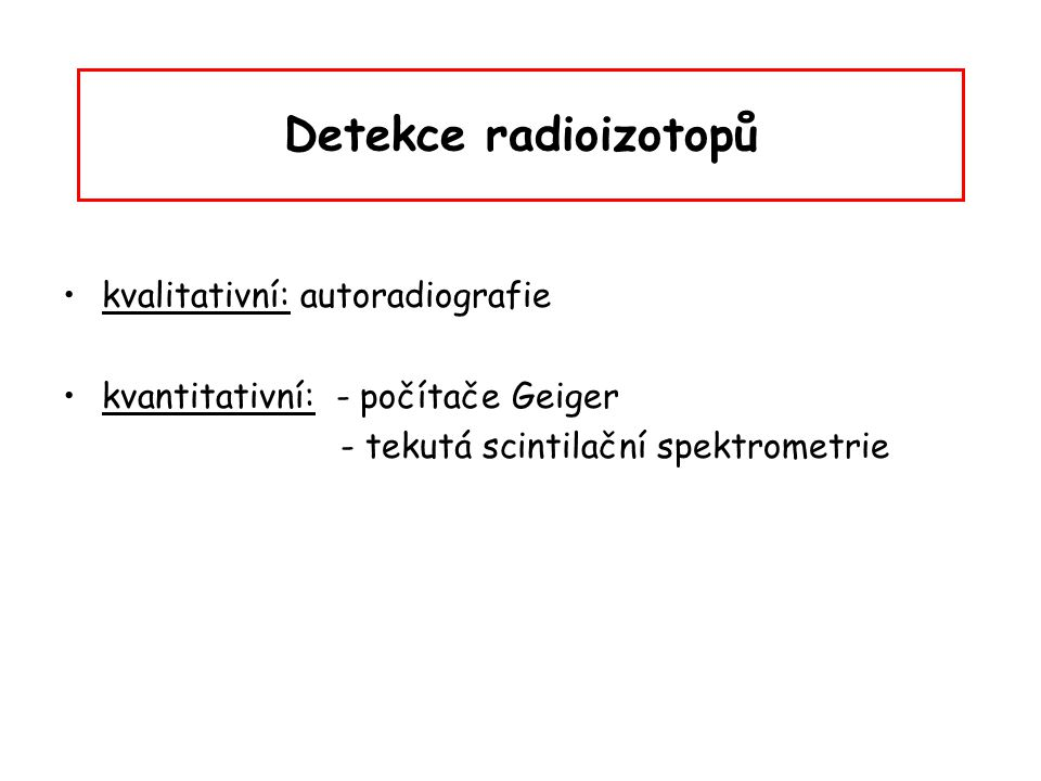 Detekce radioizotopů kvalitativní: autoradiografie