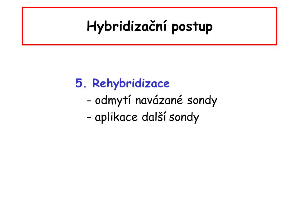 Hybridizační postup 5. Rehybridizace - odmytí navázané sondy