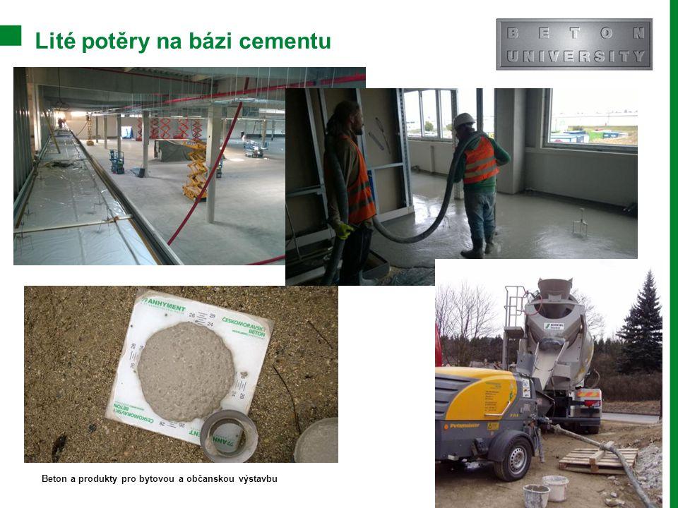 Lité potěry na bázi cementu
