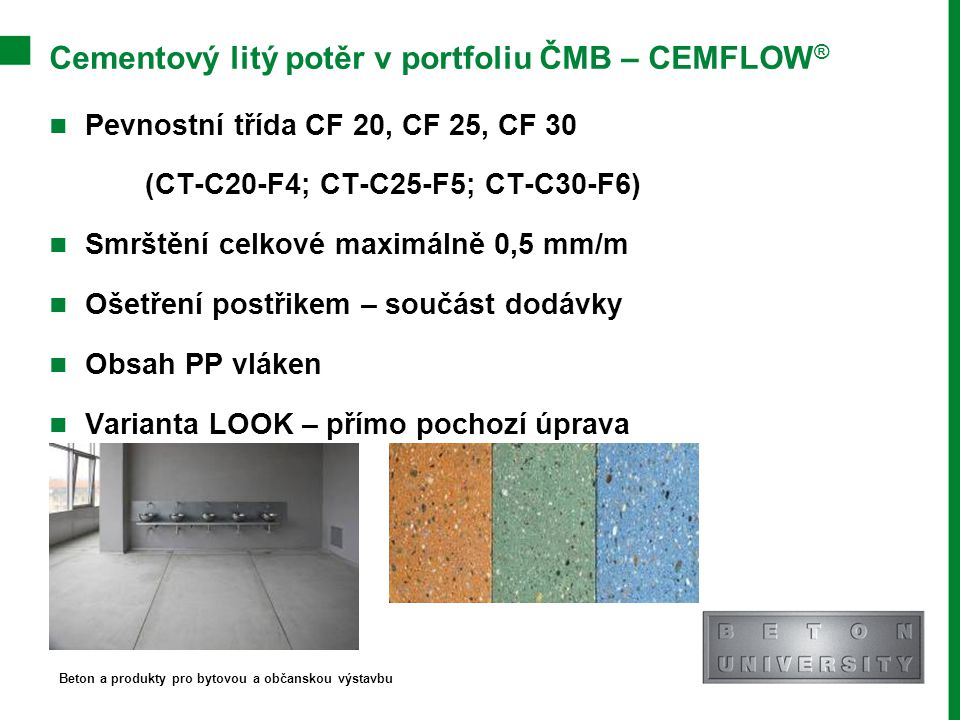 Cementový litý potěr v portfoliu ČMB – CEMFLOW®