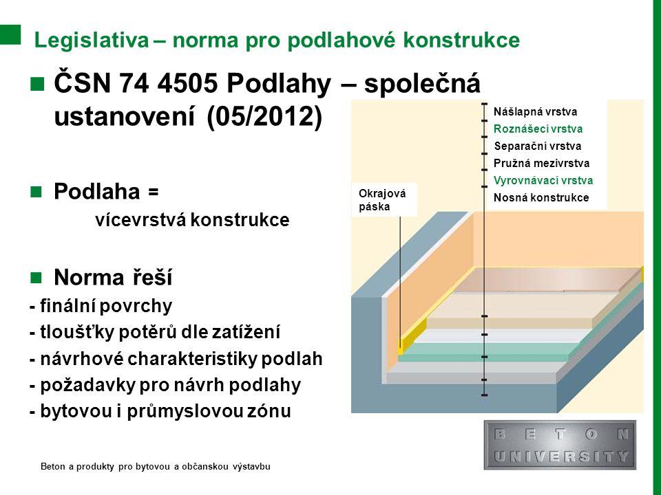 Legislativa – norma pro podlahové konstrukce