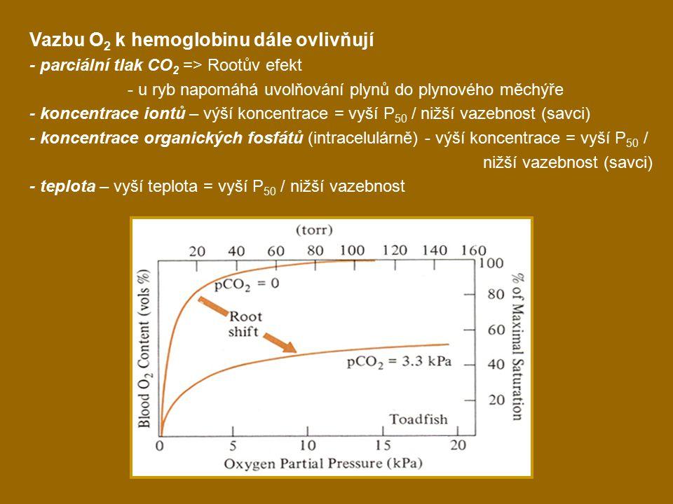 Vazbu O2 k hemoglobinu dále ovlivňují