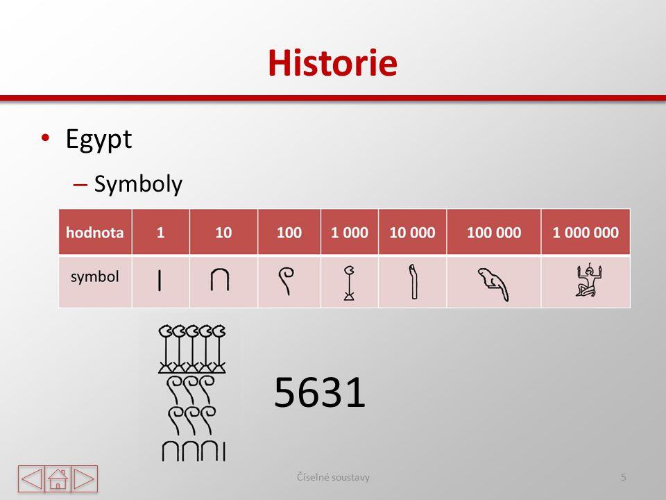 Historie Egypt Symboly 5631 Číselné soustavy