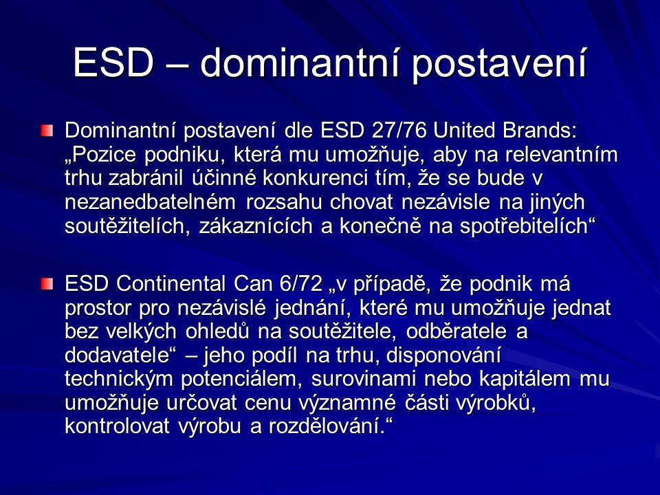 ESD – dominantní postavení