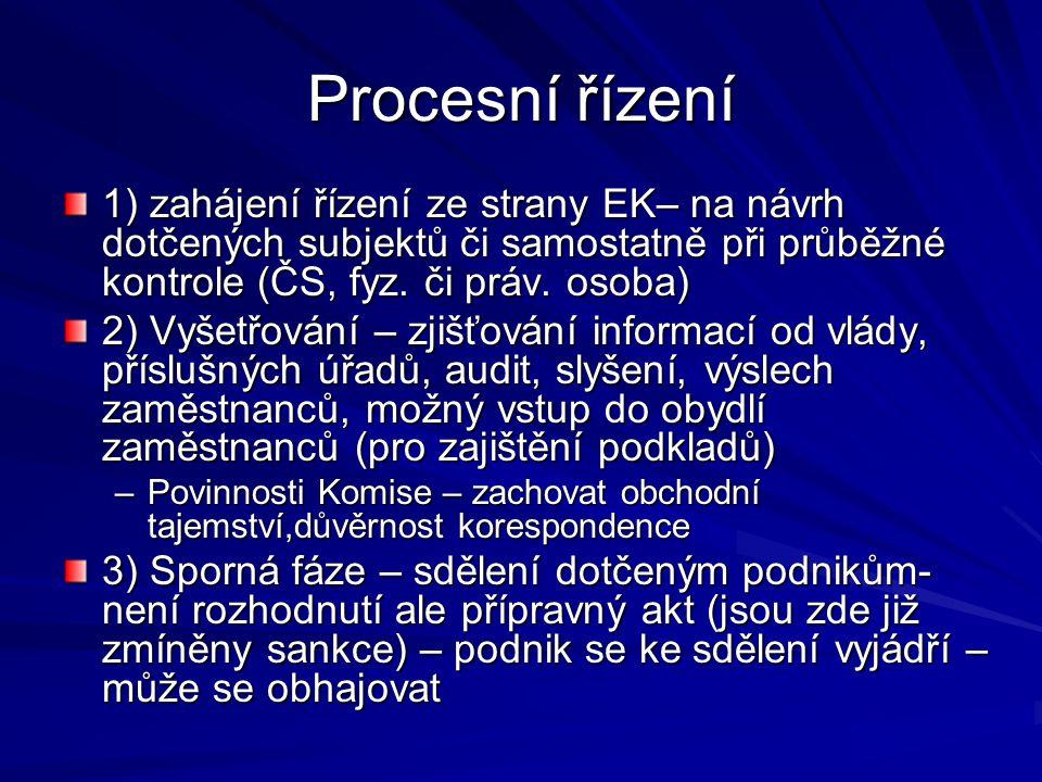 Procesní řízení 1) zahájení řízení ze strany EK– na návrh dotčených subjektů či samostatně při průběžné kontrole (ČS, fyz. či práv. osoba)