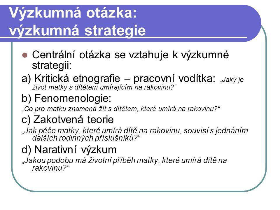Výzkumná otázka: výzkumná strategie