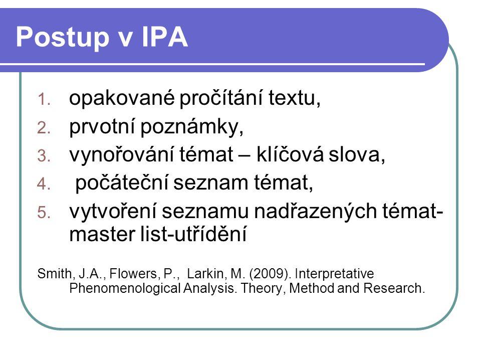 Postup v IPA opakované pročítání textu, prvotní poznámky,