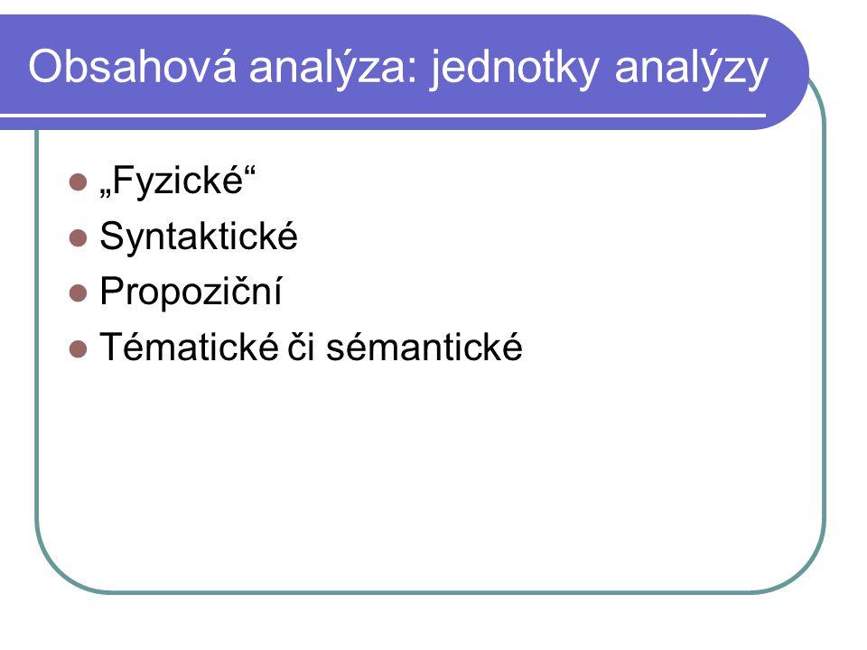 Obsahová analýza: jednotky analýzy