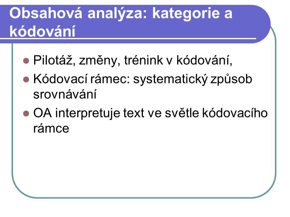 Obsahová analýza: kategorie a kódování