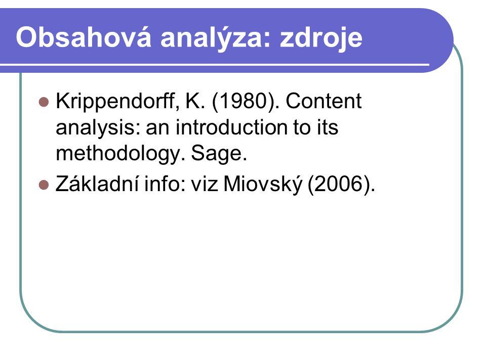 Obsahová analýza: zdroje