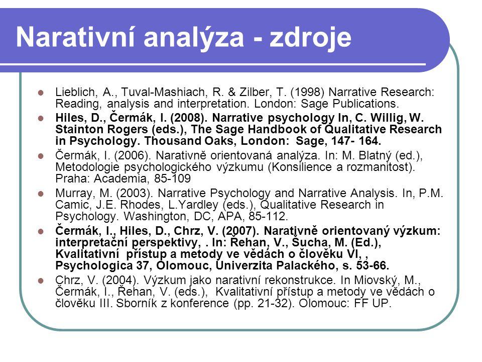 Narativní analýza - zdroje