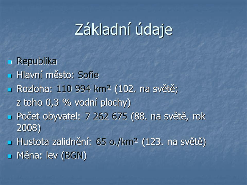 Základní údaje Republika Hlavní město: Sofie