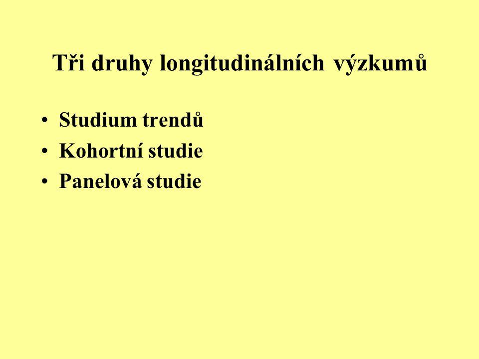 Tři druhy longitudinálních výzkumů