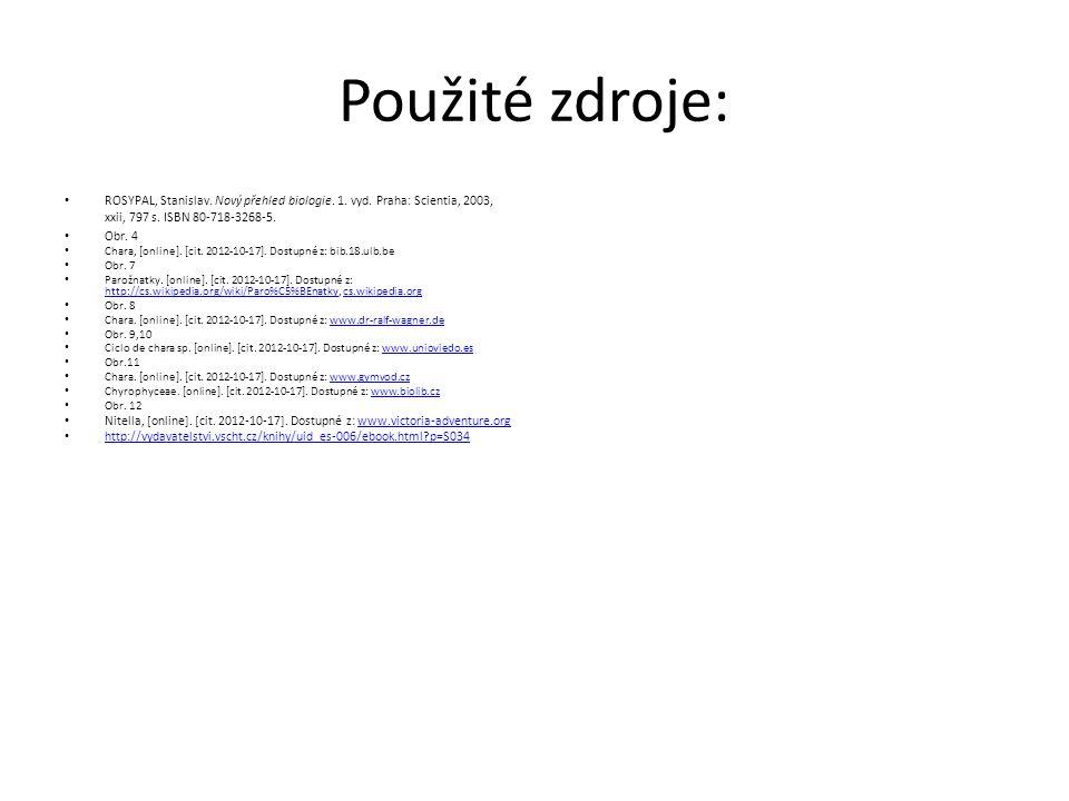 Použité zdroje: ROSYPAL, Stanislav. Nový přehled biologie. 1. vyd. Praha: Scientia, 2003, xxii, 797 s. ISBN 80-718-3268-5.