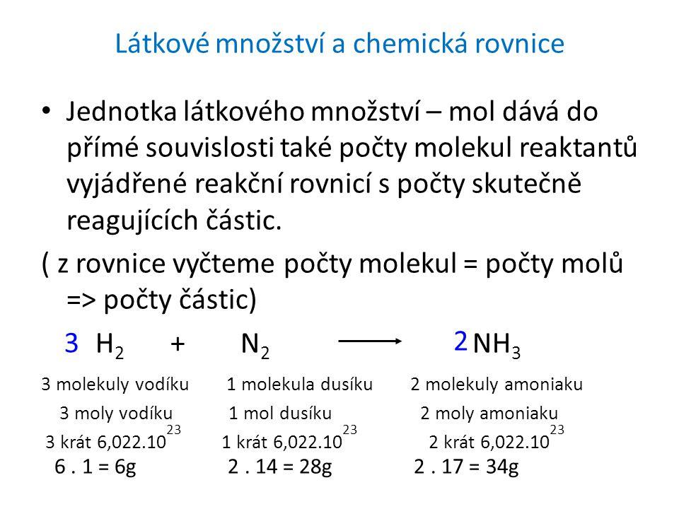Látkové množství a chemická rovnice
