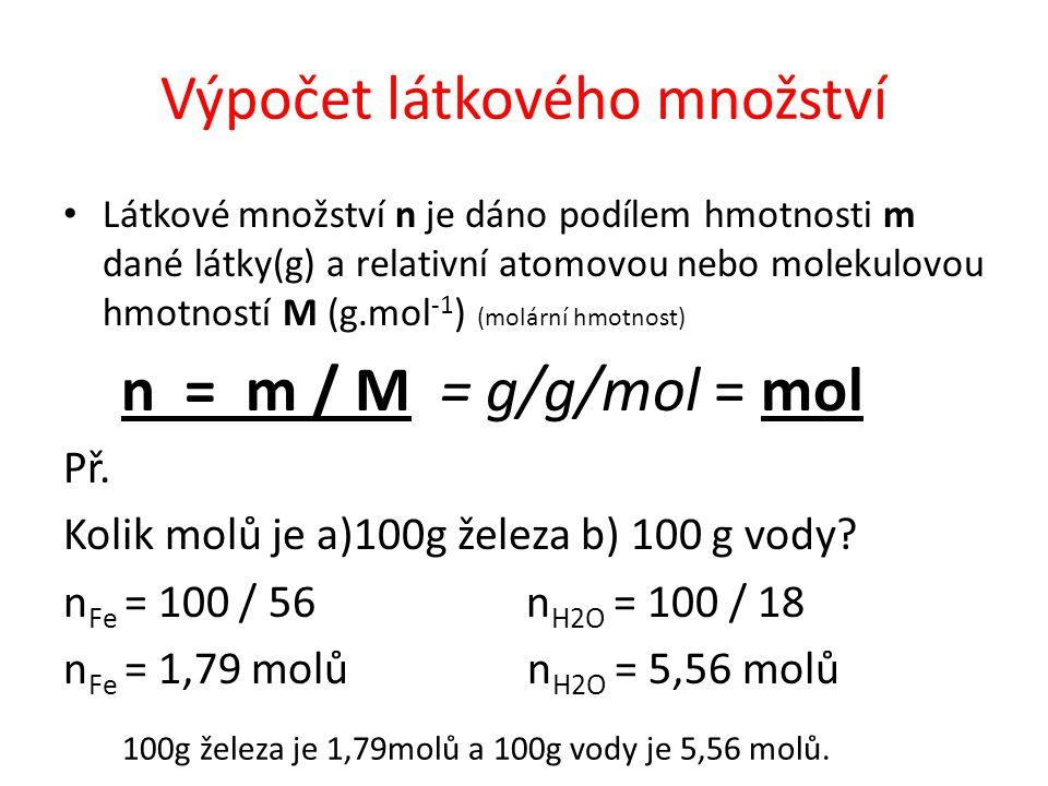 Výpočet látkového množství