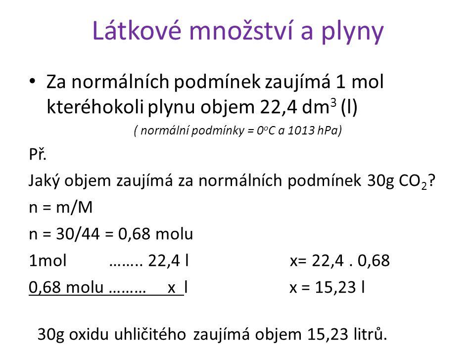 Látkové množství a plyny