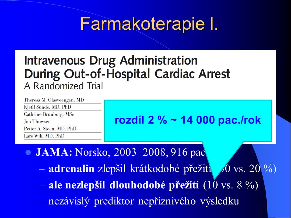 Farmakoterapie I. rozdíl 2 % ~ 14 000 pac./rok