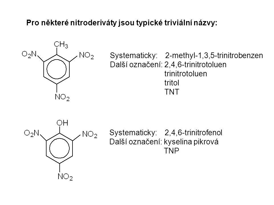 Pro některé nitroderiváty jsou typické triviální názvy: