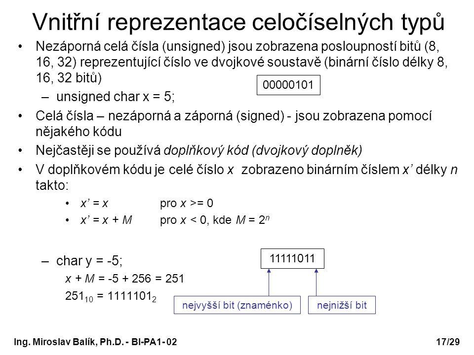 Vnitřní reprezentace celočíselných typů